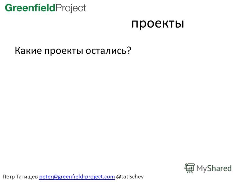 проекты Какие проекты остались? Петр Татищев peter@greenfield-project.com @tatischevpeter@greenfield-project.com