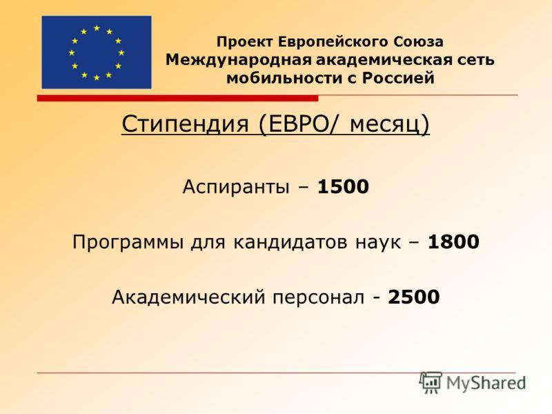 Стипендия (ЕВРО/ месяц) Аспиранты – 1500 Программы для кандидатов наук – 1800 Академический персонал - 2500 Проект Европейского Союза Международная академическая сеть мобильности с Россией