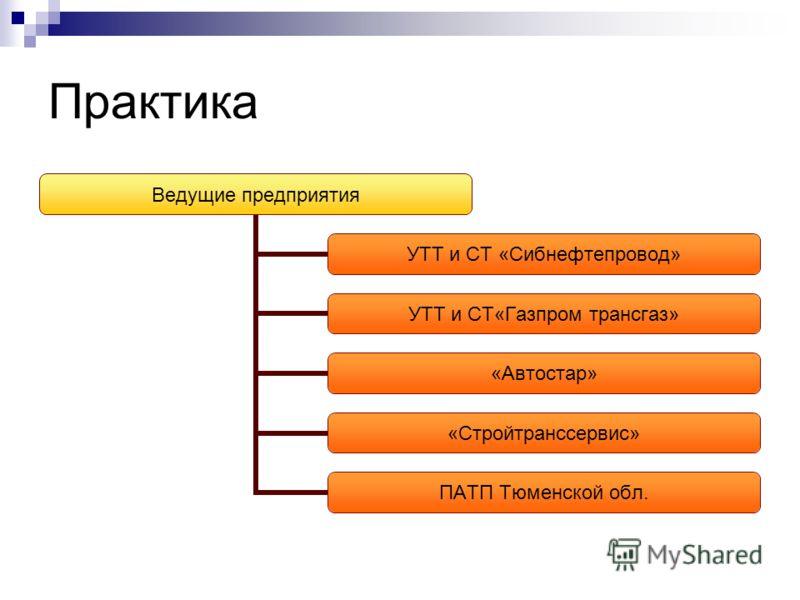 Практика Ведущие предприятия УТТ и СТ «Сибнефтепровод» УТТ и СТ«Газпром трансгаз» «Автостар» «Стройтранссервис» ПАТП Тюменской обл.
