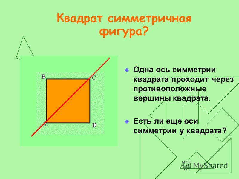 Что вы знаете о квадрате? У квадрата: все углы прямые; все стороны равны; диагонали равны, перпендикулярны и делят его на 4 равных треугольника.