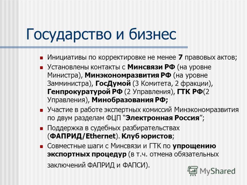 Государство и бизнес Инициативы по корректировке не менее 7 правовых актов; Установлены контакты с Минсвязи РФ (на уровне Министра), Минэкономразвития РФ (на уровне Замминистра), ГосДумой (3 Комитета, 2 фракции), Генпрокуратурой РФ (2 Управления), ГТ