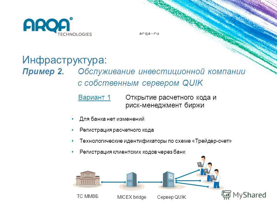 arqa.ru Инфраструктура: Пример 2. Обслуживание инвестиционной компании с собственным сервером QUIK Для банка нет изменений Регистрация расчетного кода Технологические идентификаторы по схеме «Трейдер-счет» Регистрация клиентских кодов через банк Вари