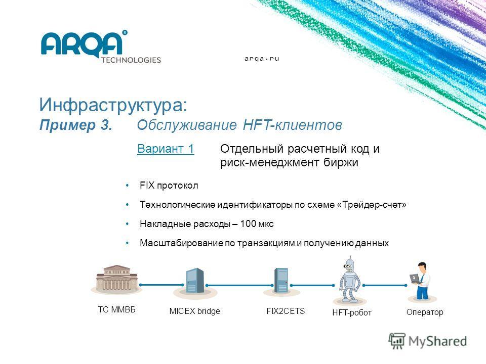 arqa.ru Инфраструктура: Пример 3. Обслуживание HFT-клиентов FIX протокол Технологические идентификаторы по схеме «Трейдер-счет» Накладные расходы – 100 мкс Масштабирование по транзакциям и получению данных Вариант 1Отдельный расчетный код и риск-мене