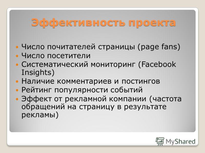 Эффективность проекта Число почитателей страницы (page fans) Число посетители Систематический мониторинг (Facebook Insights) Наличие комментариев и постингов Рейтинг популярности событий Эффект от рекламной компании (частота обращений на страницу в р