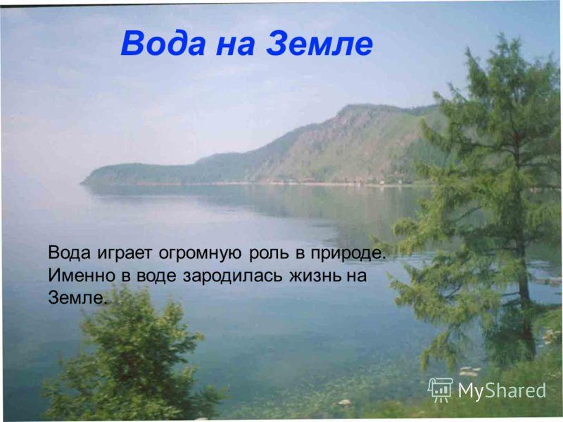Вода играет огромную роль в природе. Именно в воде зародилась жизнь на Земле. Вода на Земле