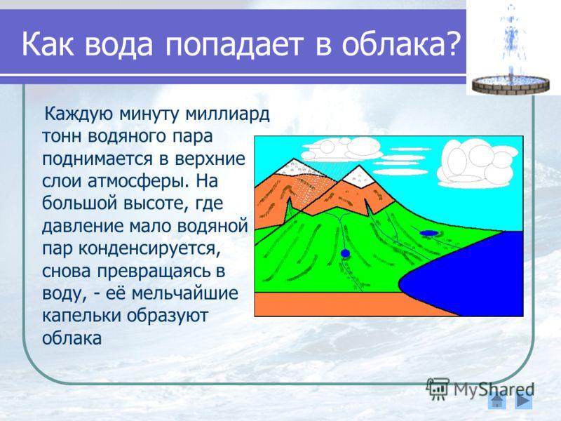 Как вода попадает в облака? Каждую минуту миллиард тонн водяного пара поднимается в верхние слои атмосферы. На большой высоте, где давление мало водяной пар конденсируется, снова превращаясь в воду, - её мельчайшие капельки образуют облака