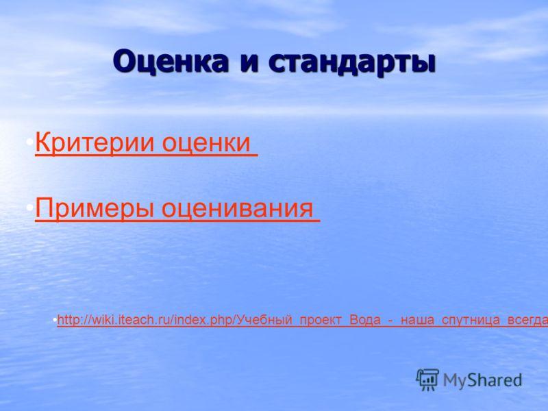 Оценка и стандарты Критерии оценки Примеры оценивания http://wiki.iteach.ru/index.php/Учебный_проект_Вода_-_наша_спутница_всегда!http://wiki.iteach.ru/index.php/Учебный_проект_Вода_-_наша_спутница_всегда
