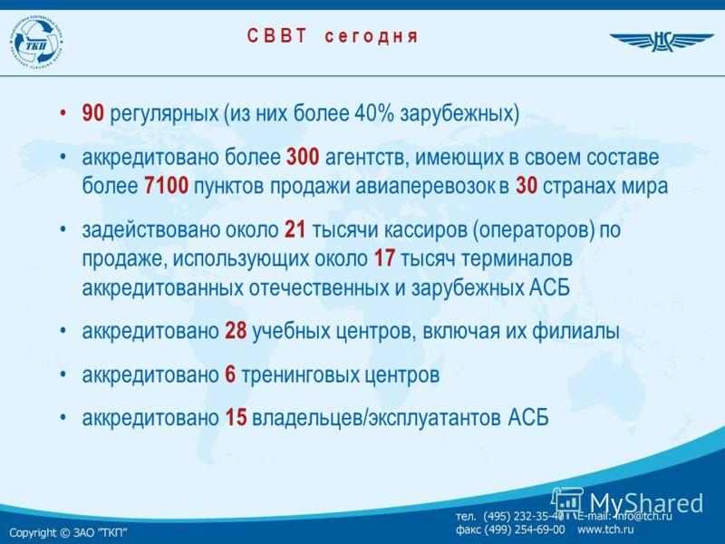С В В Т с е г о д н я 90 регулярных (из них более 40% зарубежных) аккредитовано более 300 агентств, имеющих в своем составе более 7100 пунктов продажи авиаперевозок в 30 странах мира задействовано около 21 тысячи кассиров (операторов) по продаже, исп