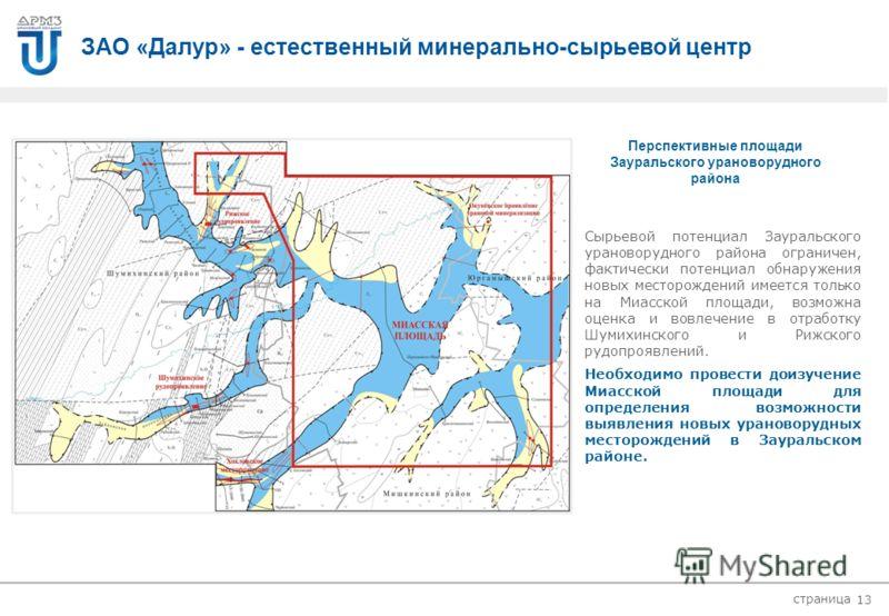 страница 1 234 ЗАО «Далур» - естественный минерально-сырьевой центр 12 График добычи урана Зауральский урановорудный район ЗАО «Далур» молодое развивающиеся ураново- бывающее предприятие. В 2009 году оно вышло практически на проектную мощность на баз