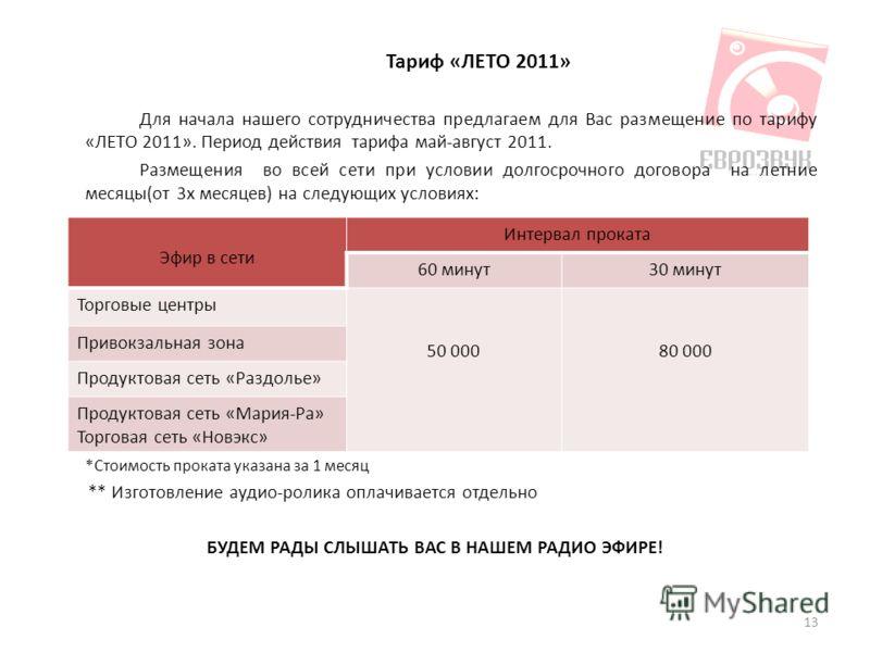 Тариф «ЛЕТО 2011» Для начала нашего сотрудничества предлагаем для Вас размещение по тарифу «ЛЕТО 2011». Период действия тарифа май-август 2011. Размещения во всей сети при условии долгосрочного договора на летние месяцы(от 3х месяцев) на следующих ус