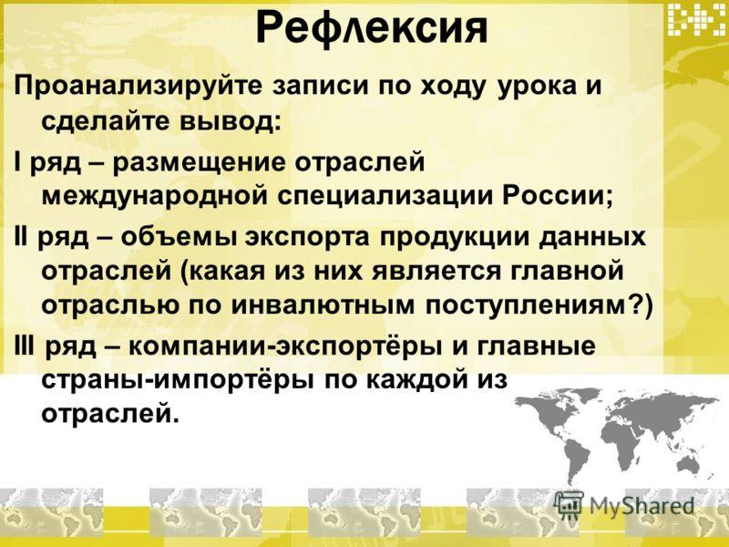 Рефлексия Проанализируйте записи по ходу урока и сделайте вывод: I ряд – размещение отраслей международной специализации России; II ряд – объемы экспорта продукции данных отраслей (какая из них является главной отраслью по инвалютным поступлениям?) I
