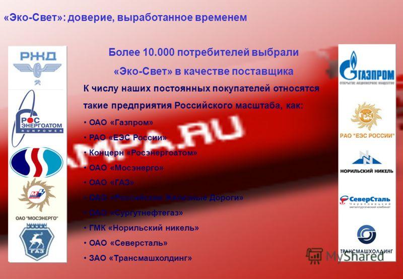 Более 10.000 потребителей выбрали «Эко-Свет» в качестве поставщика К числу наших постоянных покупателей относятся такие предприятия Российского масштаба, как: ОАО «Газпром» РАО «ЕЭС России» Концерн «Росэнергоатом» ОАО «Мосэнерго» ОАО «ГАЗ» ОАО «Росси