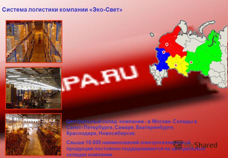 Система логистики компании «Эко-Свет» Центральный склад компании - в Москве. Склады в Санкт- Петербурге, Самаре, Екатеринбурге, Краснодаре, Новосибирске. Свыше 10.000 наименований электротехнической продукции постоянно поддерживается на центральных с