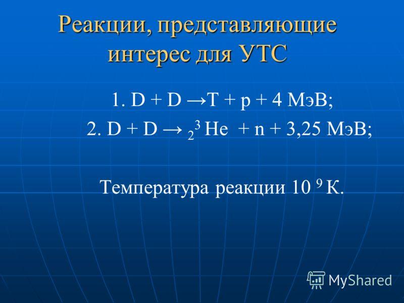 Реакции, представляющие интерес для УТС 1. D + D T + p + 4 МэВ; 2. D + D 2 3 He + n + 3,25 МэВ; Температура реакции 10 9 К.