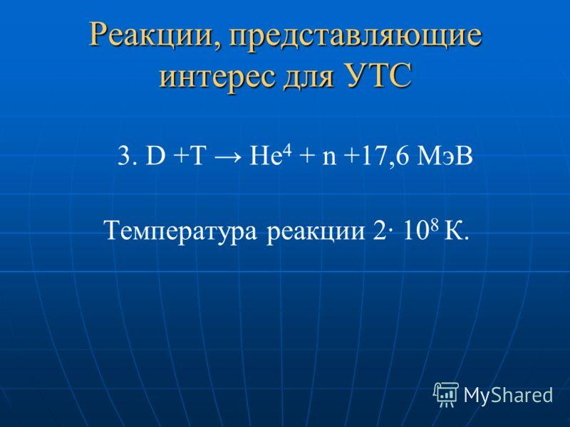 Реакции, представляющие интерес для УТС 3. D +T He 4 + n +17,6 МэВ Температура реакции 2· 10 8 К.