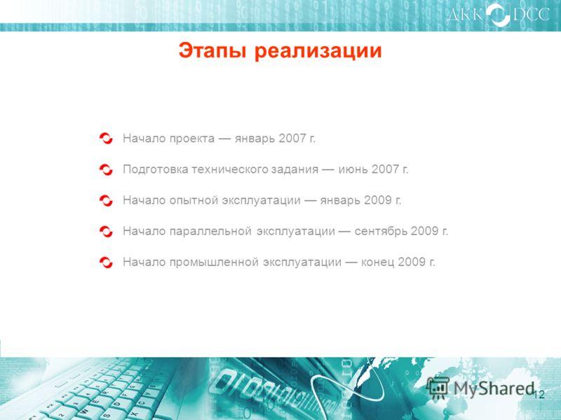 Начало проекта январь 2007 г. Этапы реализации Подготовка технического задания июнь 2007 г. Начало опытной эксплуатации январь 2009 г. Начало промышленной эксплуатации конец 2009 г. Начало параллельной эксплуатации сентябрь 2009 г. 12