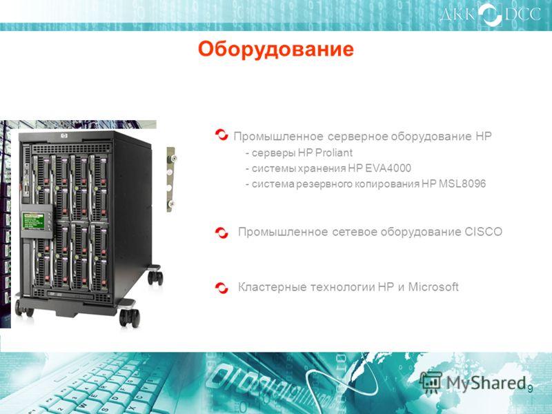 Оборудование Промышленное серверное оборудование HP - серверы HP Proliant - системы хранения HP EVA4000 - система резервного копирования HP MSL8096 Промышленное сетевое оборудование CISCO Кластерные технологии HP и Microsoft 9