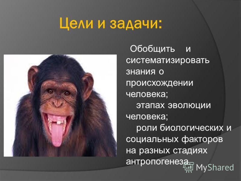 Цели и задачи: Обобщить и систематизировать знания о происхождении человека; этапах эволюции человека; роли биологических и социальных факторов на разных стадиях антропогенеза.