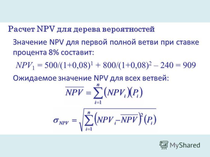 Расчет NPV для дерева вероятностей Значение NPV для первой полной ветви при ставке процента 8% составит: NPV 1 = 500/(1+0,08) 1 + 800/(1+0,08) 2 – 240 = 909 Ожидаемое значение NPV для всех ветвей: