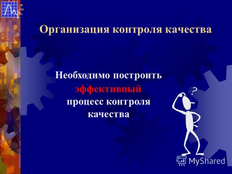 Необходимо построить эффективный процесс контроля качества Организация контроля качества