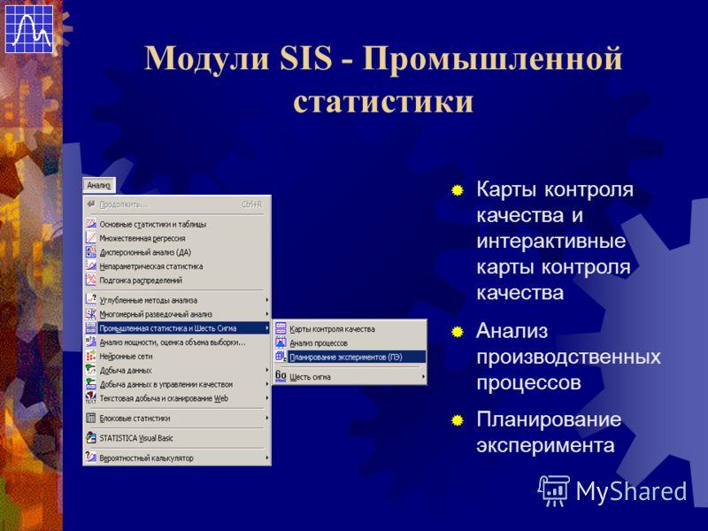 Модули SIS - Промышленной статистики Планирование эксперимента Анализ производственных процессов Карты контроля качества и интерактивные карты контроля качества