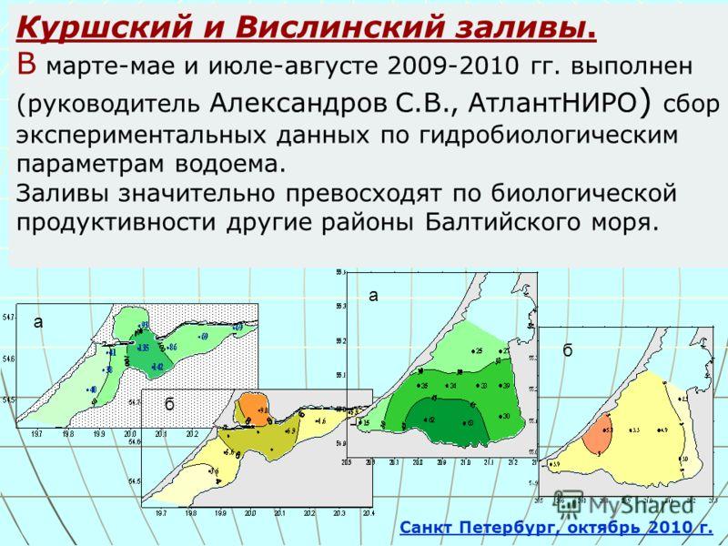 Куршский и Вислинский заливы. В марте-мае и июле-августе 2009-2010 гг. выполнен (руководитель Александров С.В., АтлантНИРО ) сбор экспериментальных данных по гидробиологическим параметрам водоема. Заливы значительно превосходят по биологической проду