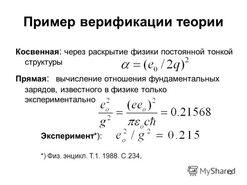 12 Пример верификации теории Косвенная : через раскрытие физики постоянной тонкой структуры Прямая : вычисление отношения фундаментальных зарядов, известного в физике только экспериментально Эксперимент*): *) Физ. энцикл. Т.1. 1988. С.234.