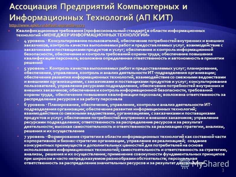 Квалификационные требования (профессиональный стандарт) в области информационных технологий «МЕНЕДЖЕР ИНФОРМАЦИОННЫХ ТЕХНОЛОГИЙ» 4 уровень - Консультирование пользователей, обеспечение потребностей внутренних и внешних заказчиков, контроль качества в