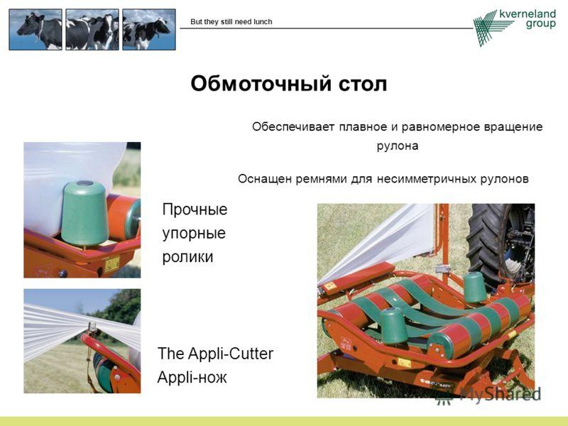 Обмоточный стол Обеспечивает плавное и равномерное вращение рулона Оснащен ремнями для несимметричных рулонов Прочные упорные ролики The Appli-Cutter Appli-нож