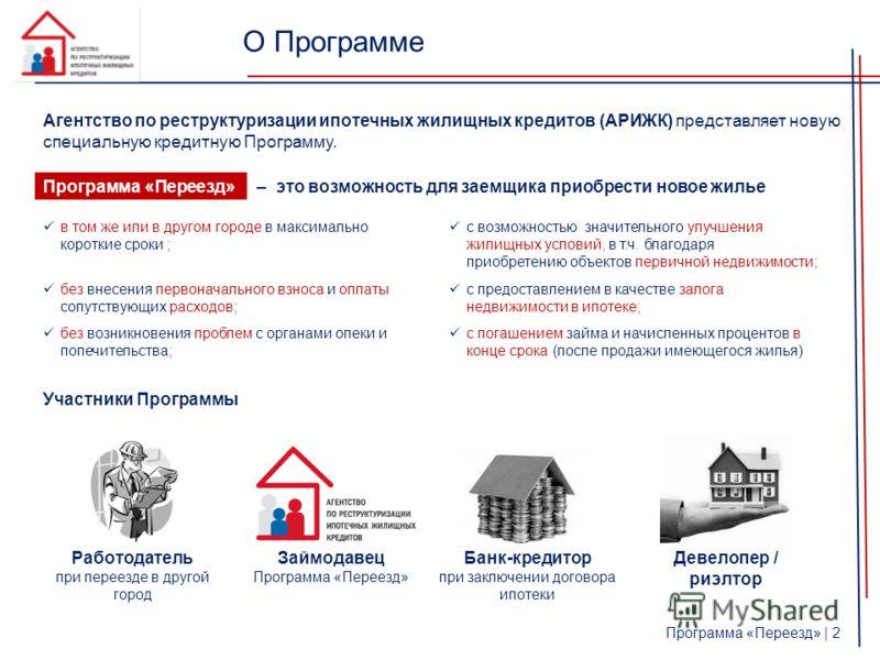 О Программе Агентство по реструктуризации ипотечных жилищных кредитов (АРИЖК) представляет новую специальную кредитную Программу. Программа «Переезд»– это возможность для заемщика приобрести новое жилье Участники Программы в том же или в другом город