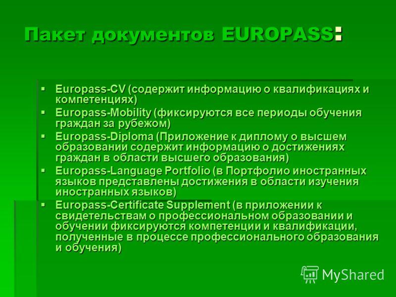 Пакет документов EUROPASS : Europass-CV (содержит информацию о квалификациях и компетенциях) Europass-CV (содержит информацию о квалификациях и компетенциях) Europass-Mobility (фиксируются все периоды обучения граждан за рубежом) Europass-Mobility (ф