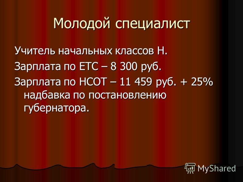 Молодой специалист Учитель начальных классов Н. Зарплата по ЕТС – 8 300 руб. Зарплата по НСОТ – 11 459 руб. + 25% надбавка по постановлению губернатора.