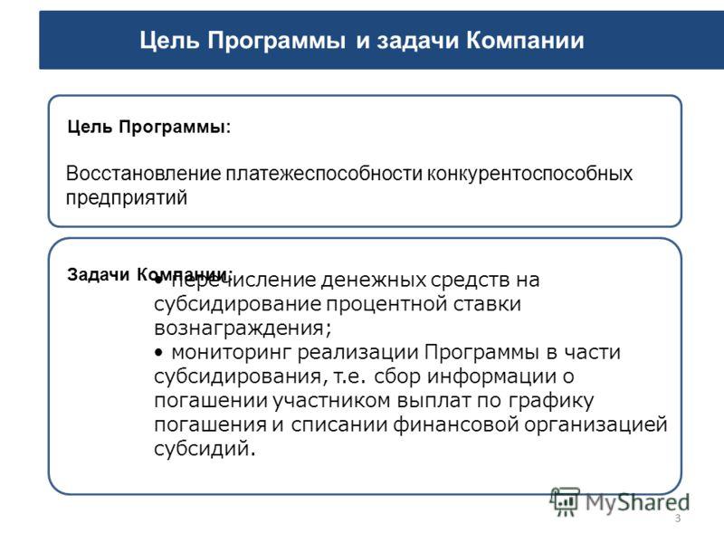 33 Цель Программы и задачи Компании Восстановление платежеспособности конкурентоспособных предприятий Цель Программы: перечисление денежных средств на субсидирование процентной ставки вознаграждения; мониторинг реализации Программы в части субсидиров