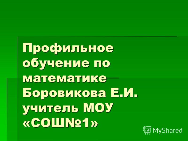 Профильное обучение по математике Боровикова Е.И. учитель МОУ «СОШ1»