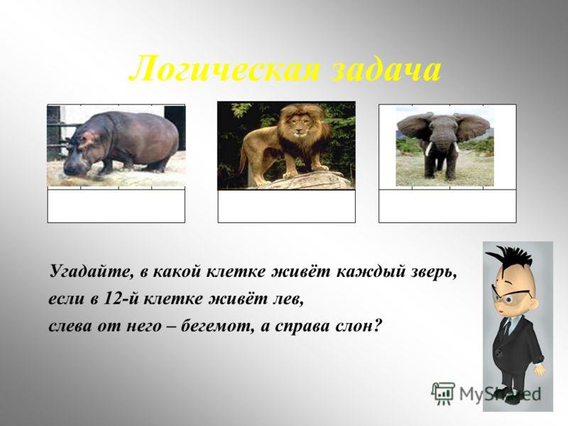 Логическая задача Угадайте, в какой клетке живёт каждый зверь, если в 12-й клетке живёт лев, слева от него – бегемот, а справа слон?