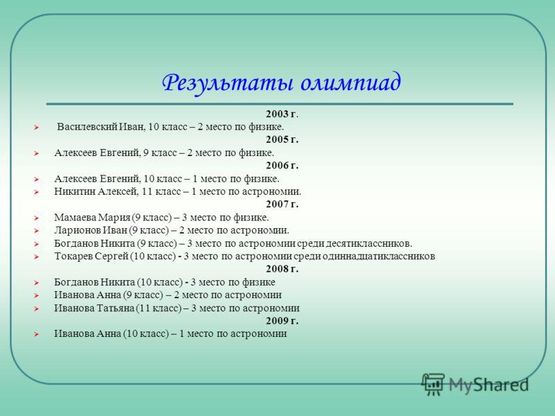 Результаты олимпиад 2003 г. Василевский Иван, 10 класс – 2 место по физике. 2005 г. Алексеев Евгений, 9 класс – 2 место по физике. 2006 г. Алексеев Евгений, 10 класс – 1 место по физике. Никитин Алексей, 11 класс – 1 место по астрономии. 2007 г. Мама