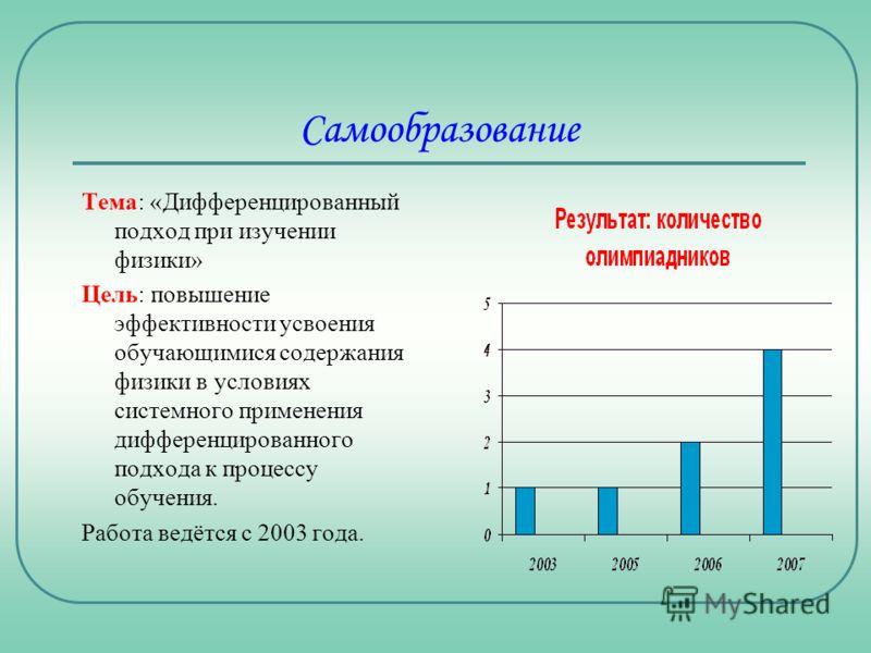 Самообразование Тема: «Дифференцированный подход при изучении физики» Цель: повышение эффективности усвоения обучающимися содержания физики в условиях системного применения дифференцированного подхода к процессу обучения. Работа ведётся с 2003 года.
