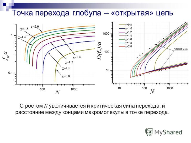 Точка перехода глобула – «открытая» цепь С ростом N увеличивается и критическая сила перехода, и расстояние между концами макромолекулы в точке перехода.