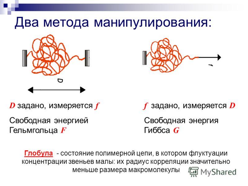Два метода манипулирования: D задано, измеряется f Свободная энергией Гельмгольца F f задано, измеряется D Свободная энергия Гиббса G Глобула - состояние полимерной цепи, в котором флуктуации концентрации звеньев малы: их радиус корреляции значительн