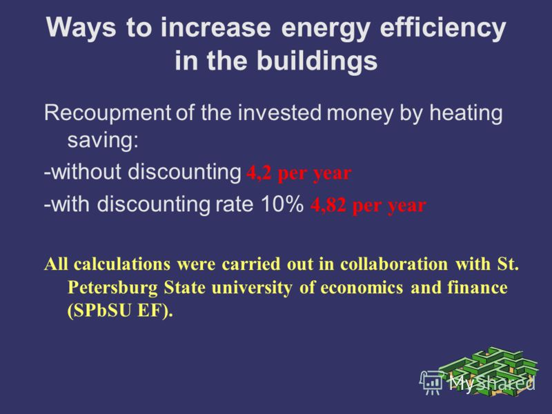 Ways to increase energy efficiency in the buildings Recoupment of the invested money by heating saving: -without discounting 4,2 per year -with discounting rate 10% 4,82 per year All calculations were carried out in collaboration with St. Petersburg
