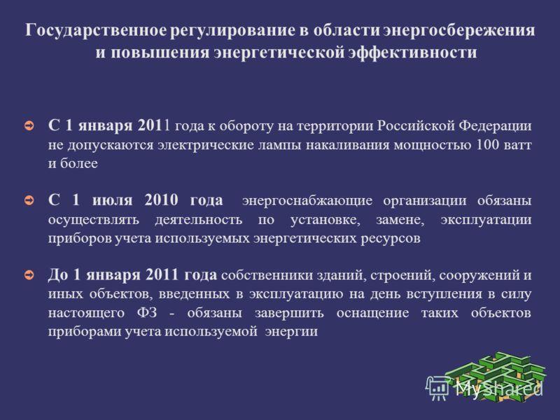 Государственное регулирование в области энергосбережения и повышения энергетической эффективности С 1 января 2011 года к обороту на территории Российской Федерации не допускаются электрические лампы накаливания мощностью 100 ватт и более С 1 июля 201