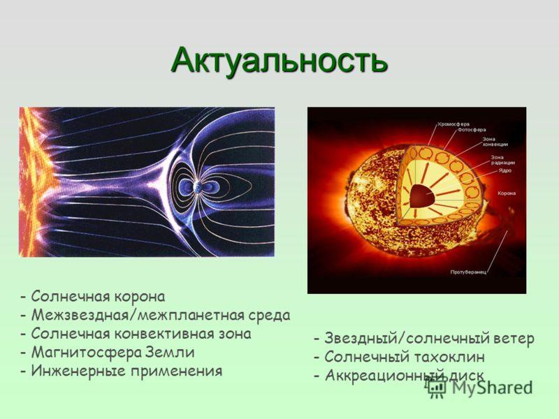 Актуальность - Солнечная корона - Межзвездная/межпланетная среда - Солнечная конвективная зона - Магнитосфера Земли - Инженерные применения - Звездный/солнечный ветер - Солнечный тахоклин - Аккреационный диск