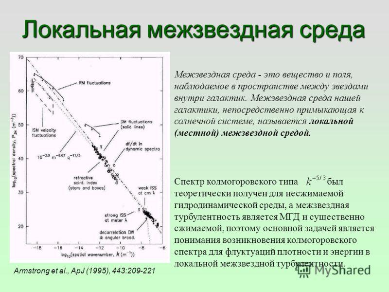 Локальная межзвездная среда Armstrong et al., ApJ (1995), 443:209-221 Спектр колмогоровского типа был теоретически получен для несжимаемой гидродинамической среды, а межзвездная турбулентность является МГД и существенно сжимаемой, поэтому основной за