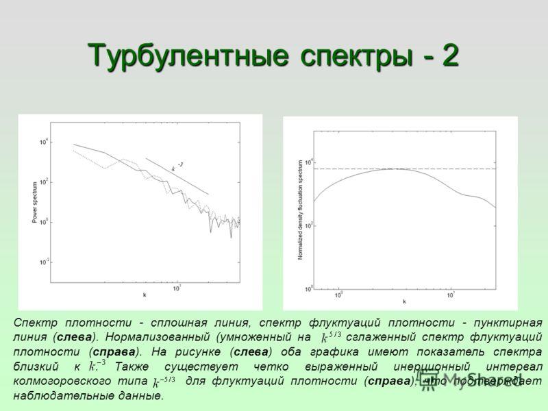 Турбулентные спектры - 2 Спектр плотности - сплошная линия, спектр флуктуаций плотности - пунктирная линия (слева). Нормализованный (умноженный на сглаженный спектр флуктуаций плотности (справа). На рисунке (слева) оба графика имеют показатель спектр