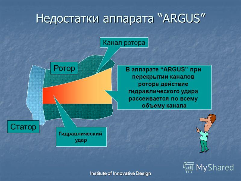Institute of Innovative Design Недостатки аппарата ARGUS Гидравлический удар Статор Ротор Канал ротора В аппарате ARGUS при перекрытии каналов ротора действие гидравлического удара рассеивается по всему объему канала