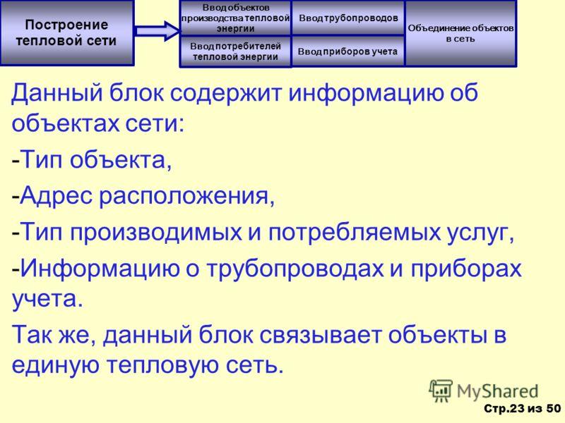 Данный блок содержит информацию об объектах сети: -Тип объекта, -Адрес расположения, -Тип производимых и потребляемых услуг, -Информацию о трубопроводах и приборах учета. Так же, данный блок связывает объекты в единую тепловую сеть. Построение теплов