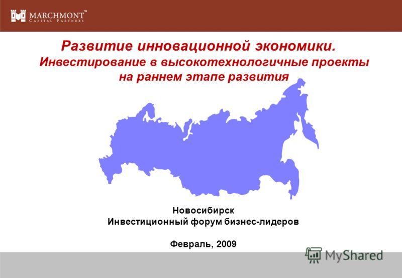 Развитие инновационной экономики. Инвестирование в высокотехнологичные проекты на раннем этапе развития Новосибирск Инвестиционный форум бизнес-лидеров Февраль, 2009