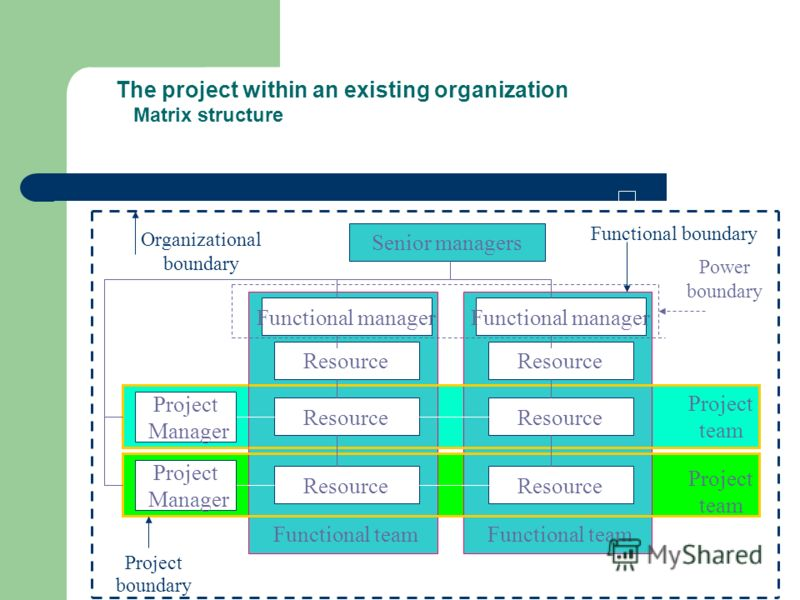 The project within an existing organization Matrix structure Senior managers Functional manager Resource Functional team Functional manager Resource Functional team Project team Project Manager Project Manager Project boundary Functional boundary Org