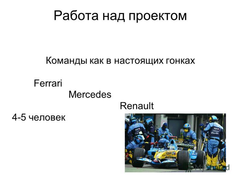 Работа над проектом Команды как в настоящих гонках Ferrari Mercedes Renault 4-5 человек