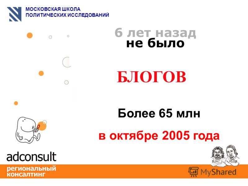МОСКОВСКАЯ ШКОЛА ПОЛИТИЧЕСКИХ ИССЛЕДОВАНИЙ 6 лет назад не было БЛОГОВ Более 65 млн в октябре 2005 года